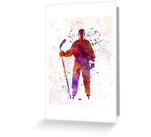 Hockey man player 01 in watercolor Greeting Card