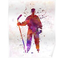 Hockey man player 01 in watercolor Poster