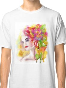 Spring woman.  watercolor, Classic T-Shirt