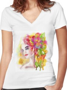 Spring woman.  watercolor, Women's Fitted V-Neck T-Shirt