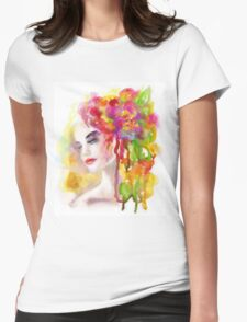 Spring woman.  watercolor, Womens Fitted T-Shirt