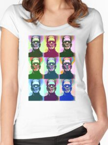 Frankenstein Pop Art Women's Fitted Scoop T-Shirt