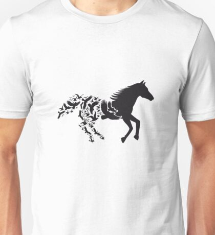 Black horse silhouette with flying birds Unisex T-Shirt
