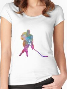 Hockey man player 03 in watercolor Women's Fitted Scoop T-Shirt