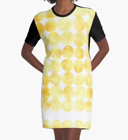 Imperfect Geometry Yellow Circles Graphic T-Shirt Dress