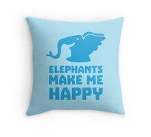 Elephants make me happy Throw Pillow