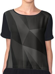 Origami Black abstract fractal texture Chiffon Top