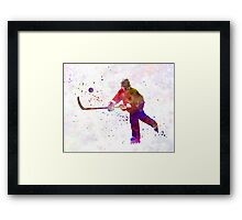 Hockey man player 04 in watercolor Framed Print