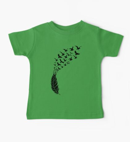 Black feather with flying birds Baby Tee