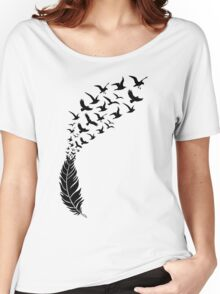 Black feather with flying birds Women's Relaxed Fit T-Shirt