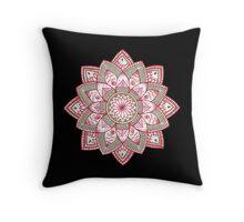 Golden Red Mandala Throw Pillow
