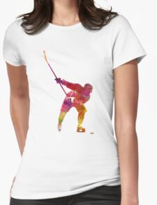 Hockey man player 02 in watercolor Womens Fitted T-Shirt