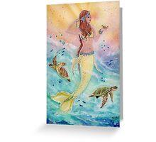 Sunshine sea mermaid with sea turtles by Renee Lavoie Greeting Card
