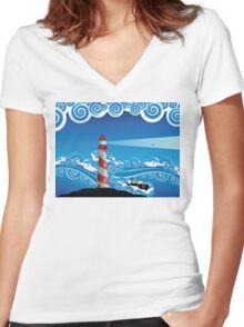 Lighthouse and Boat in the Sea 7 Women's Fitted V-Neck T-Shirt