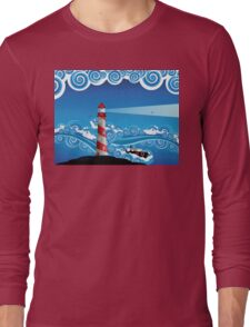 Lighthouse and Boat in the Sea 7 Long Sleeve T-Shirt