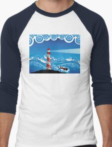 Lighthouse and Boat in the Sea 7 Men's Baseball ¾ T-Shirt