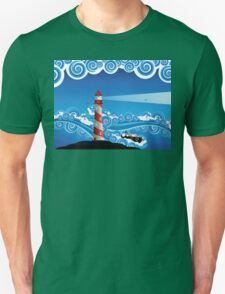 Lighthouse and Boat in the Sea 7 Unisex T-Shirt