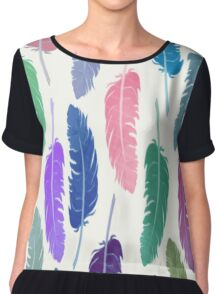 Colorful Feathers Chiffon Top