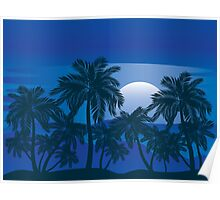 Palm Tree at Night 3 Poster