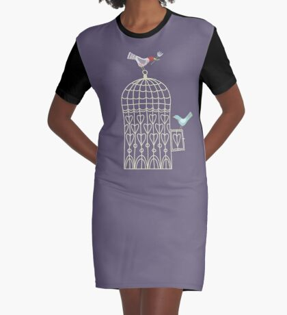 Leaving the Birdcage Graphic T-Shirt Dress