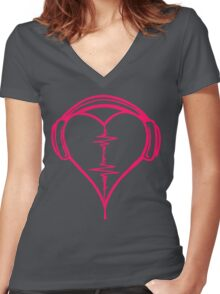 Heart Beat Music Spectrum Women's Fitted V-Neck T-Shirt