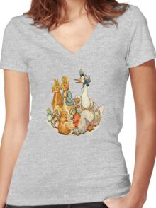 Children's Story Book Animals Women's Fitted V-Neck T-Shirt