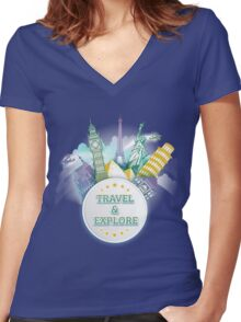 Travel & Explore Women's Fitted V-Neck T-Shirt