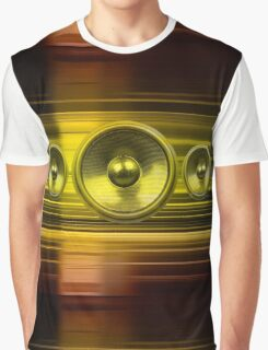 Music speakers with gold light streaks Graphic T-Shirt
