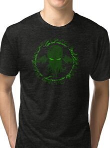 In his house at R'lyeh dead Cthulhu waits dreaming GREEN Tri-blend T-Shirt