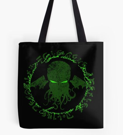 In his house at R'lyeh dead Cthulhu waits dreaming GREEN Tote Bag