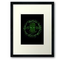 In his house at R'lyeh dead Cthulhu waits dreaming GREEN Framed Print