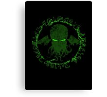 In his house at R'lyeh dead Cthulhu waits dreaming GREEN Canvas Print