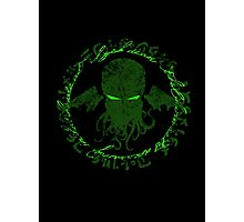 In his house at R'lyeh dead Cthulhu waits dreaming GREEN Photographic Print