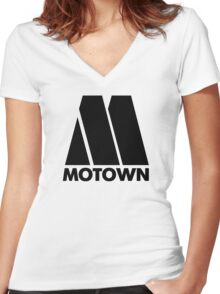 MOTOWN DISCO RECORDS Women's Fitted V-Neck T-Shirt