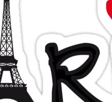 Paris with Eiffel tower and red heart Sticker