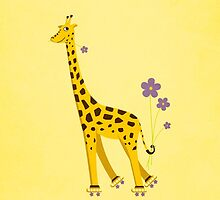 Yellow Cartoon Funny Giraffe Roller Skating by Boriana Giormova