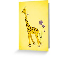Yellow Cartoon Funny Giraffe Roller Skating Greeting Card