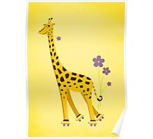Yellow Cartoon Funny Giraffe Roller Skating Poster