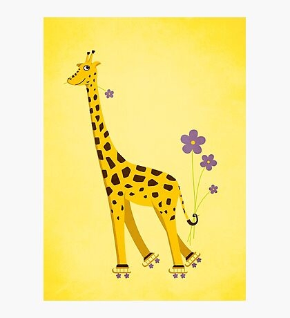 Yellow Cartoon Funny Giraffe Roller Skating Photographic Print