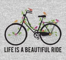 Life is a beautiful ride, vintage bicycle with birds One Piece - Short Sleeve