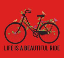 Life is a beautiful ride, vintage bicycle with birds Kids Tee