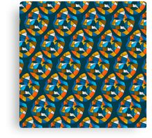 Geometric Face Pattern Blue Canvas Print