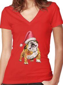 Christmas Bulldog Women's Fitted V-Neck T-Shirt