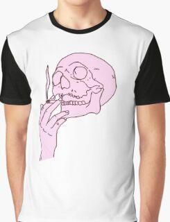 Pink Skull Smoking Graphic T-Shirt