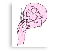 Pink Skull Smoking Canvas Print