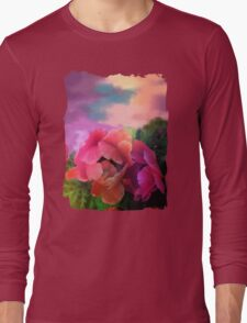 Painterly garden with Anemone flowers Long Sleeve T-Shirt