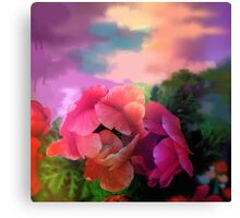 Painterly garden with Anemone flowers Canvas Print