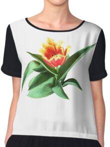 Frilly Orange Tulip Chiffon Top