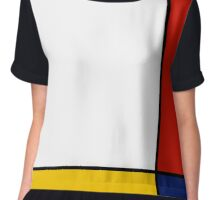 Mondrian Style Abstract Art Chiffon Top