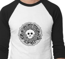 Grey Scale Skull Mandala Men's Baseball ¾ T-Shirt